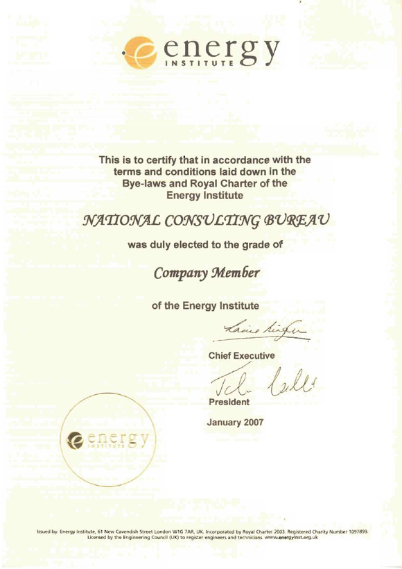 NCC Certificate of Energy