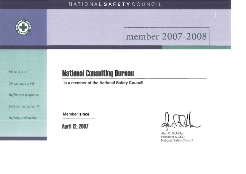 NCC membership of the National Safety Council